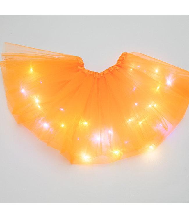 LED Rokje / Tutu Mini - Oranje - Met Gekleurde RGB Verlichting