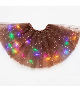 LED Rokje / Tutu Mini - Bruin - Met Gekleurde RGB Verlichting
