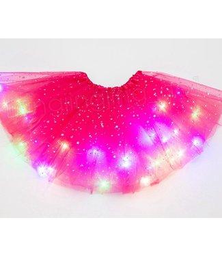 LED Rokje / Tutu Mini - Roze - Met Gekleurde RGB Verlichting