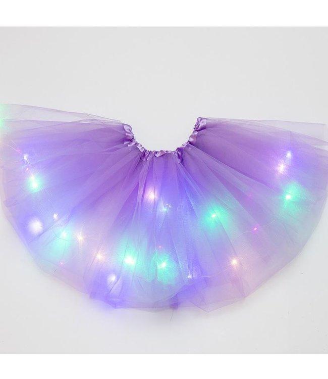 LED Rokje / Tutu Mini - Licht Paars - Met Gekleurde RGB Verlichting
