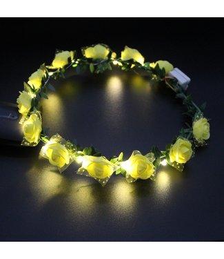 Lichtgevende Tiara / Haarband - LED - Roos - Geel