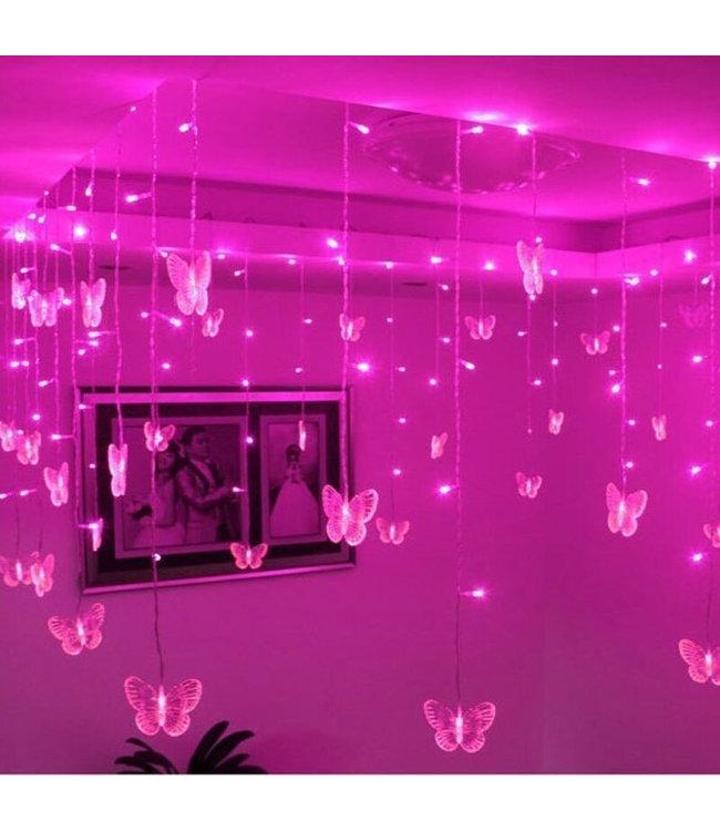 Kerst Gordijn Vlinder - 2 Meter - Roze