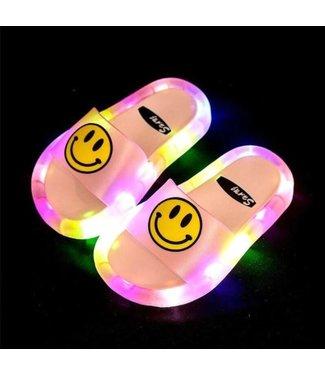 LED Slippers Smiley - Roze