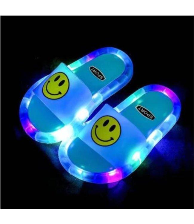 LED Slippers Smiley - Blauw