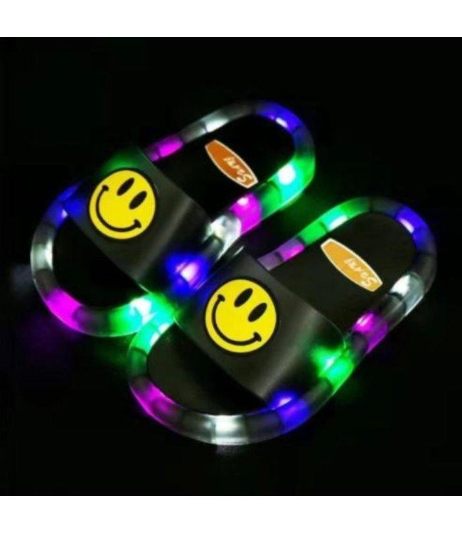 LED Slippers Smiley - Zwart