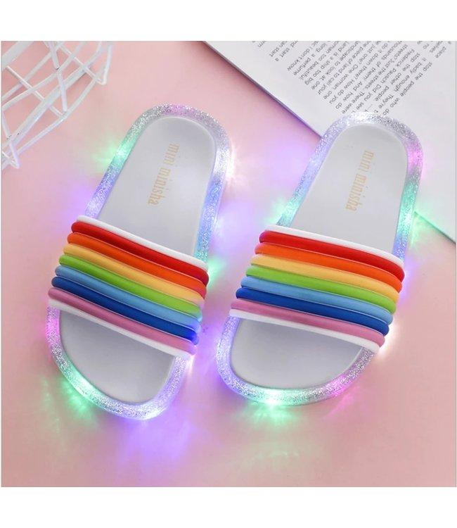 LED Slippers Regenboog - Zilver