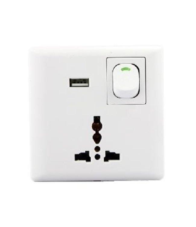 Universeel Inbouw Stopcontact - USB - Wit