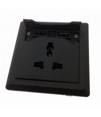 Universeel Inbouw Stopcontact - 2x USB - Zwart