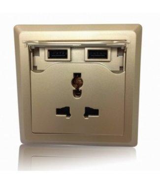 Universeel Inbouw Stopcontact - 2x USB - Goud