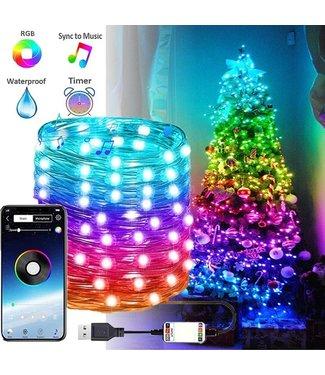 Kerstboomverlichting Slim 10 Meter - USB - RGB 16 Miljoen Kleuren