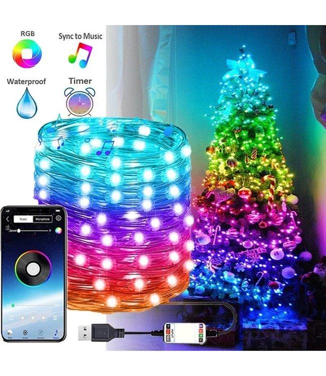 Kerstboomverlichting Slim 20 Meter - USB - RGB 16 Miljoen Kleuren