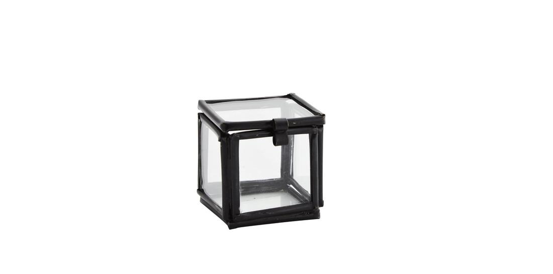 Glas Box Quadratisch Schwarz
