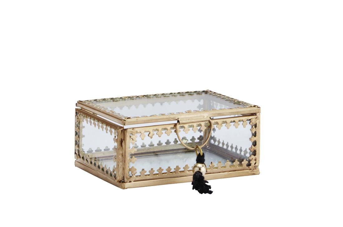 Glas Box Klein Goldrand Verzierung Klein