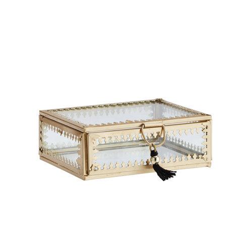 Madam Stoltz Glas Box Klein Goldrand Verzierung Medium