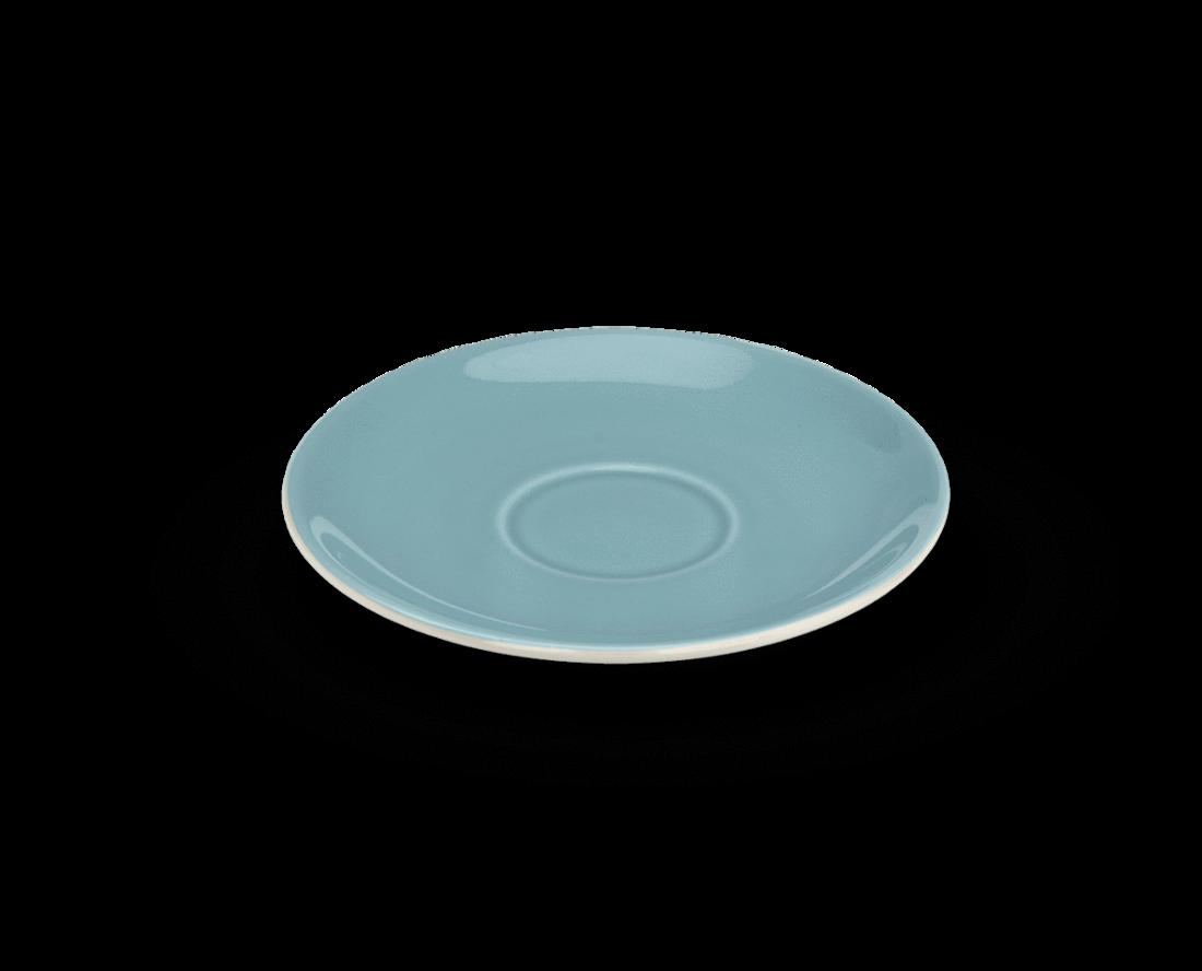 Rössler Porzellan Mokkatassenteller 60s Revival blau