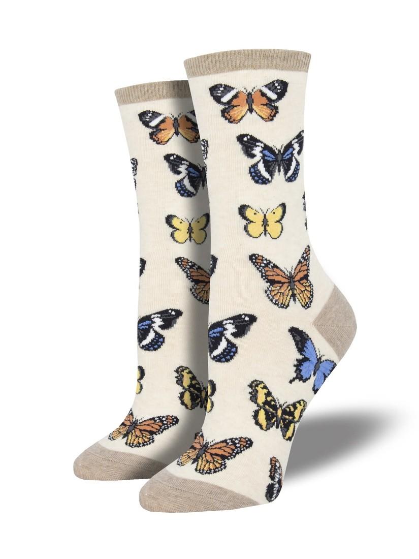 Socksmith Damensocken «Majestic Butterflies Ivory»
