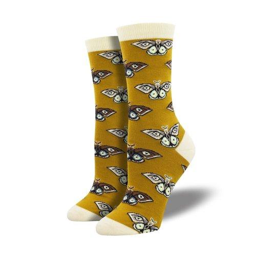 Socksmith Damensocken «Vintage Moths Gold»