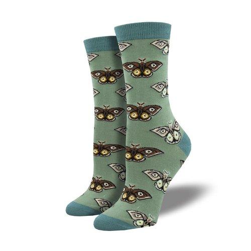 Socksmith Damensocken «Vintage Moths Green»