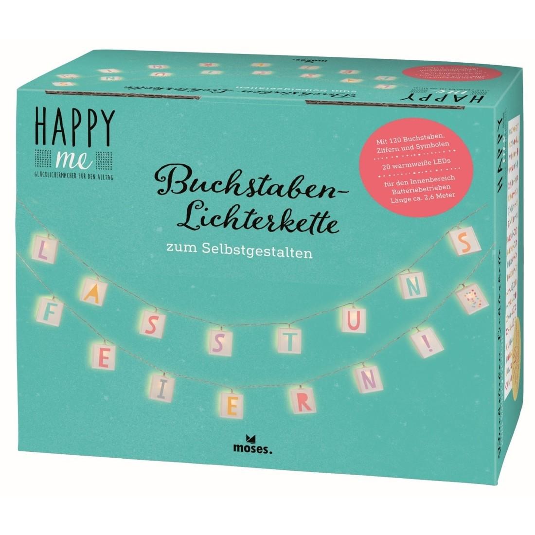 moses Buchstaben Lichterkette «Happy Me»