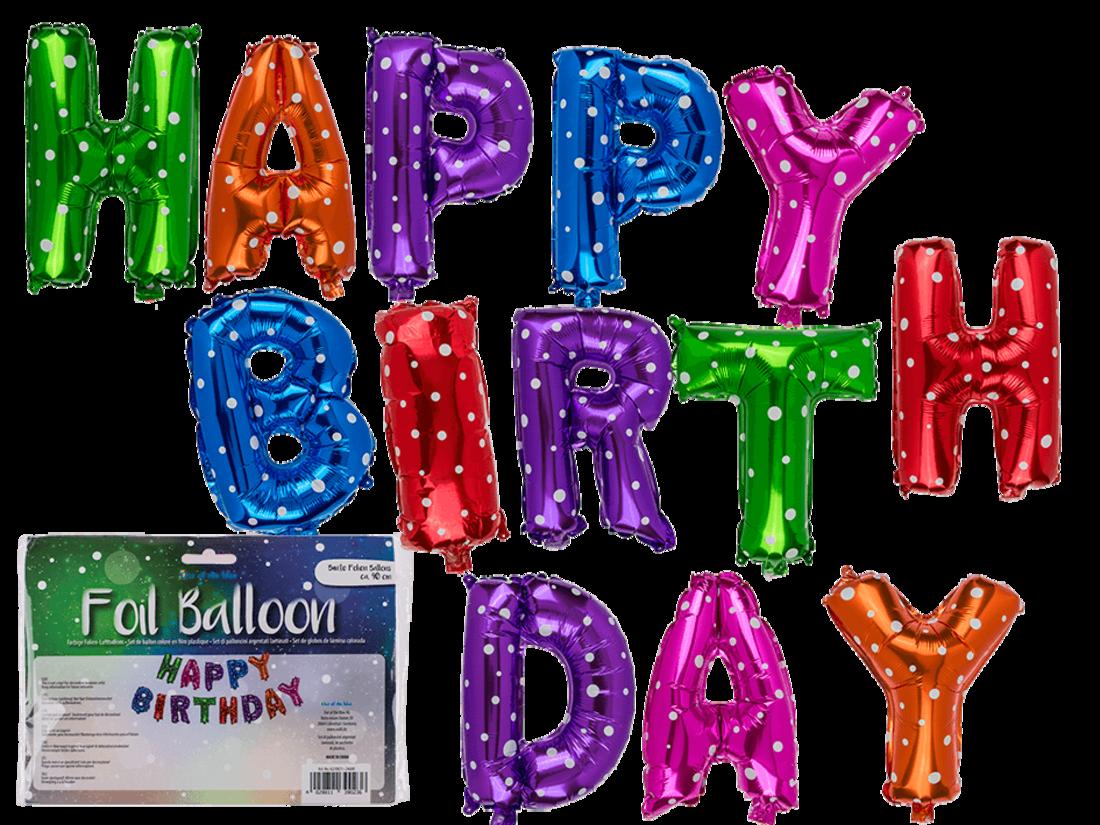 Folien-Luftballon-Set «Happy Birthday»