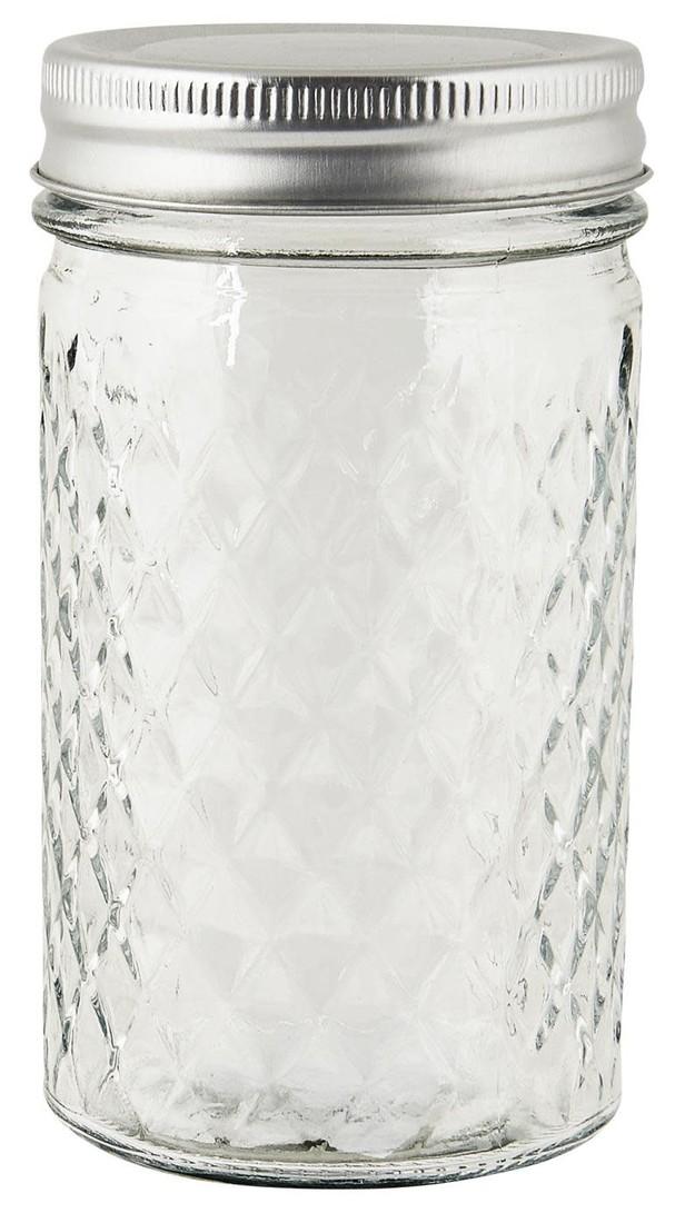 Glas mit  Metalldeckel