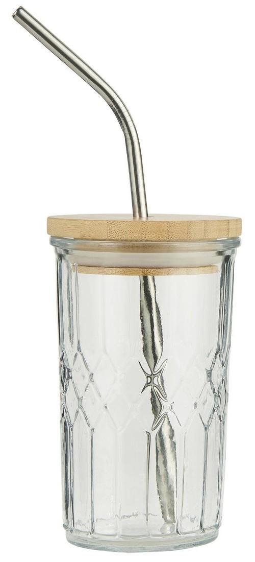 Trinkglas mit Strohhalm