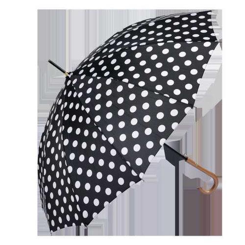 Regenschirm schwarz mit weissen Punkten