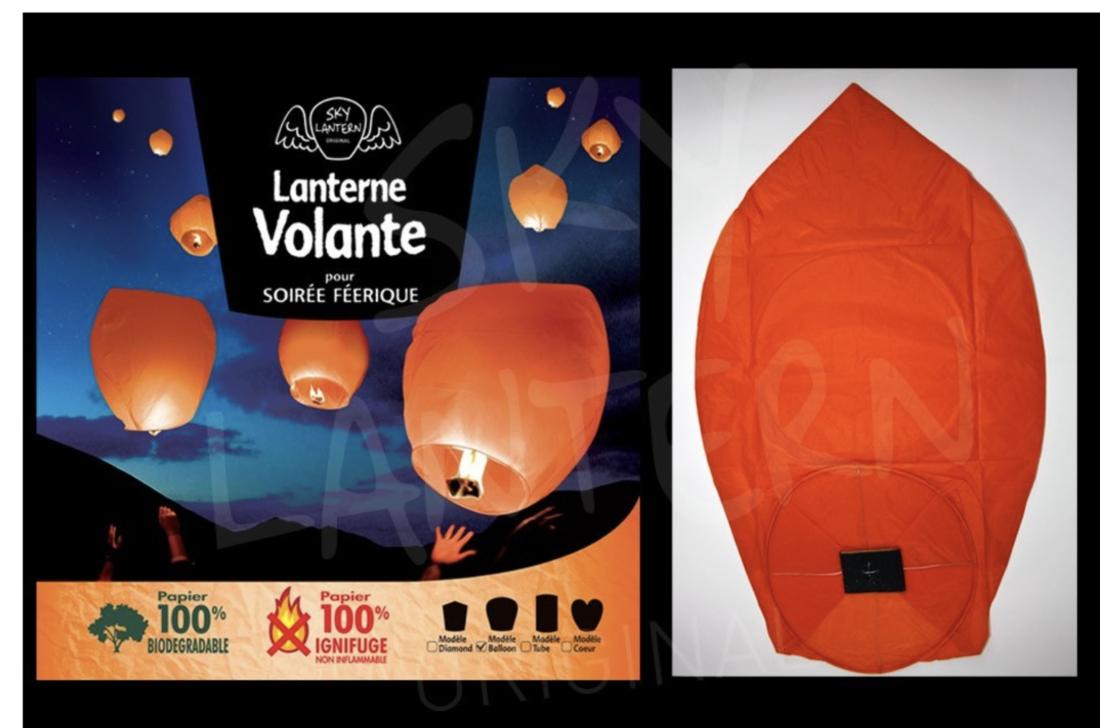 Sky Lantern Himmelslaterne Oval orange/ coral