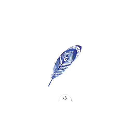 Sioou Tattoo Feder blau
