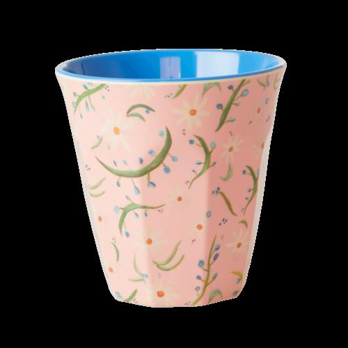 Rice Becher Melamin rosa mit Blumen