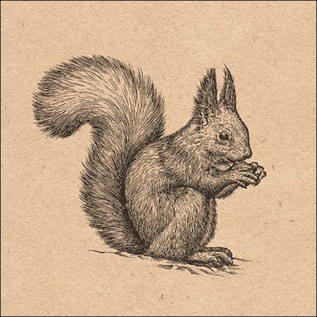 Napkin Etching Squirrel