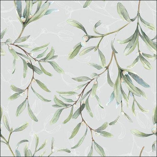 Papierservietten Misteln auf grau