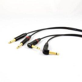 Jack - jack haaks kabel, dubbel, vergulde connectoren