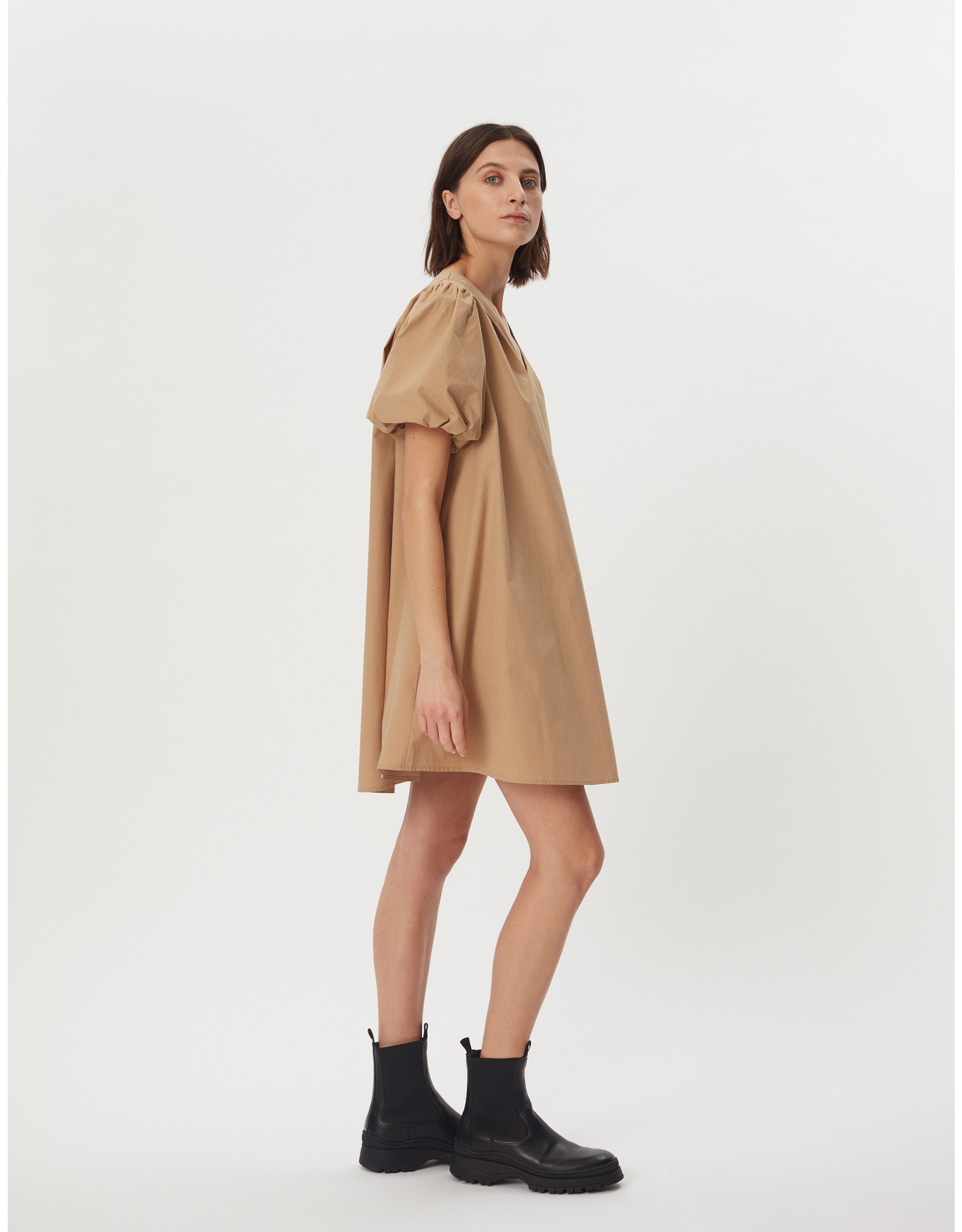 POPELIN DRESS CAMEL