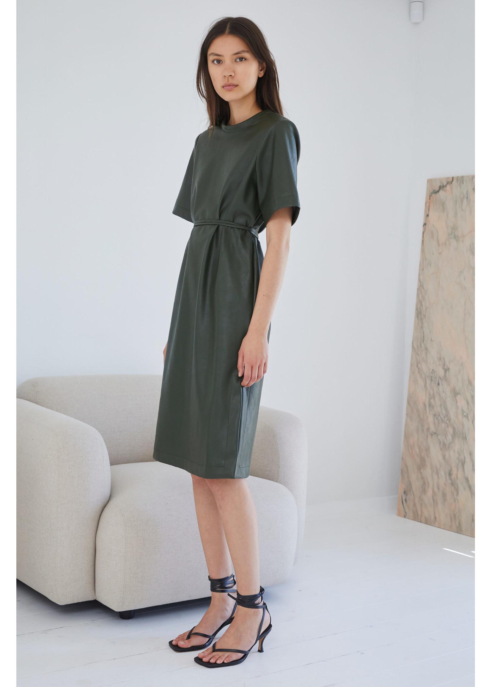 VEGAN LEATHER DRESS OLIVE