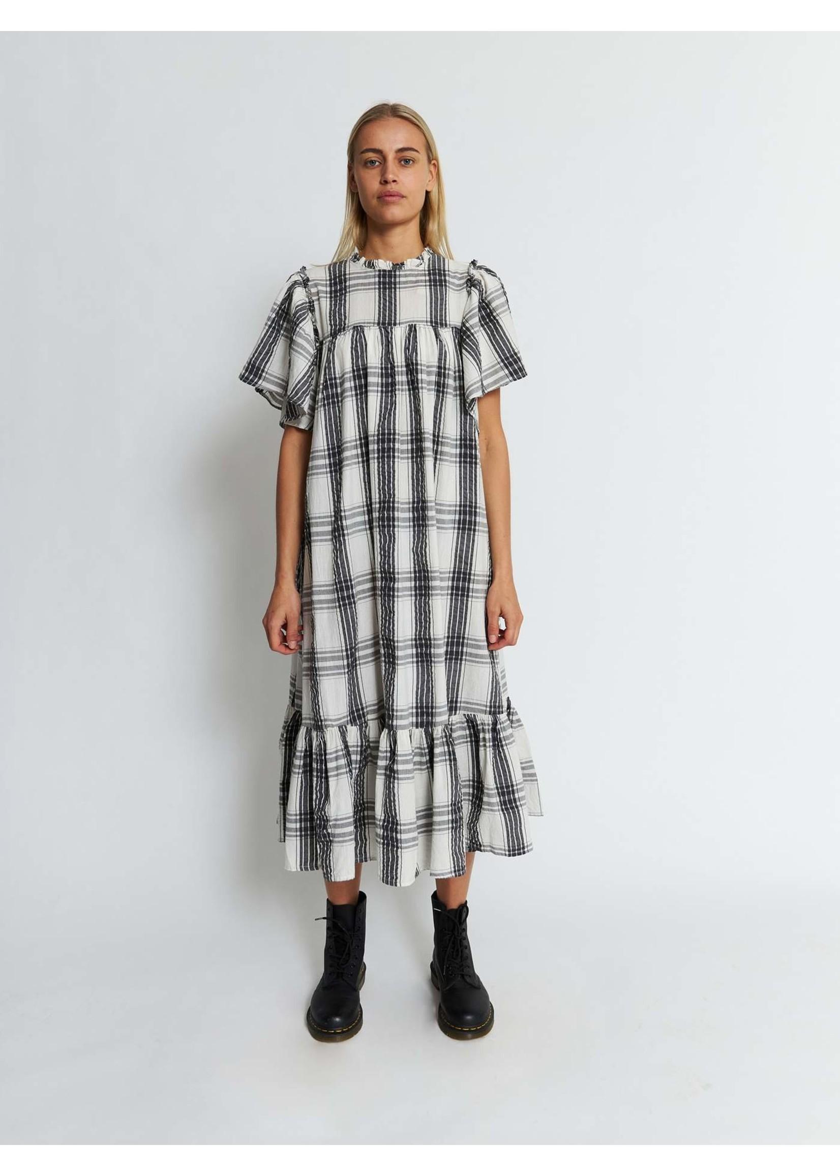 SHORT SLEEVE CHECK DRESS