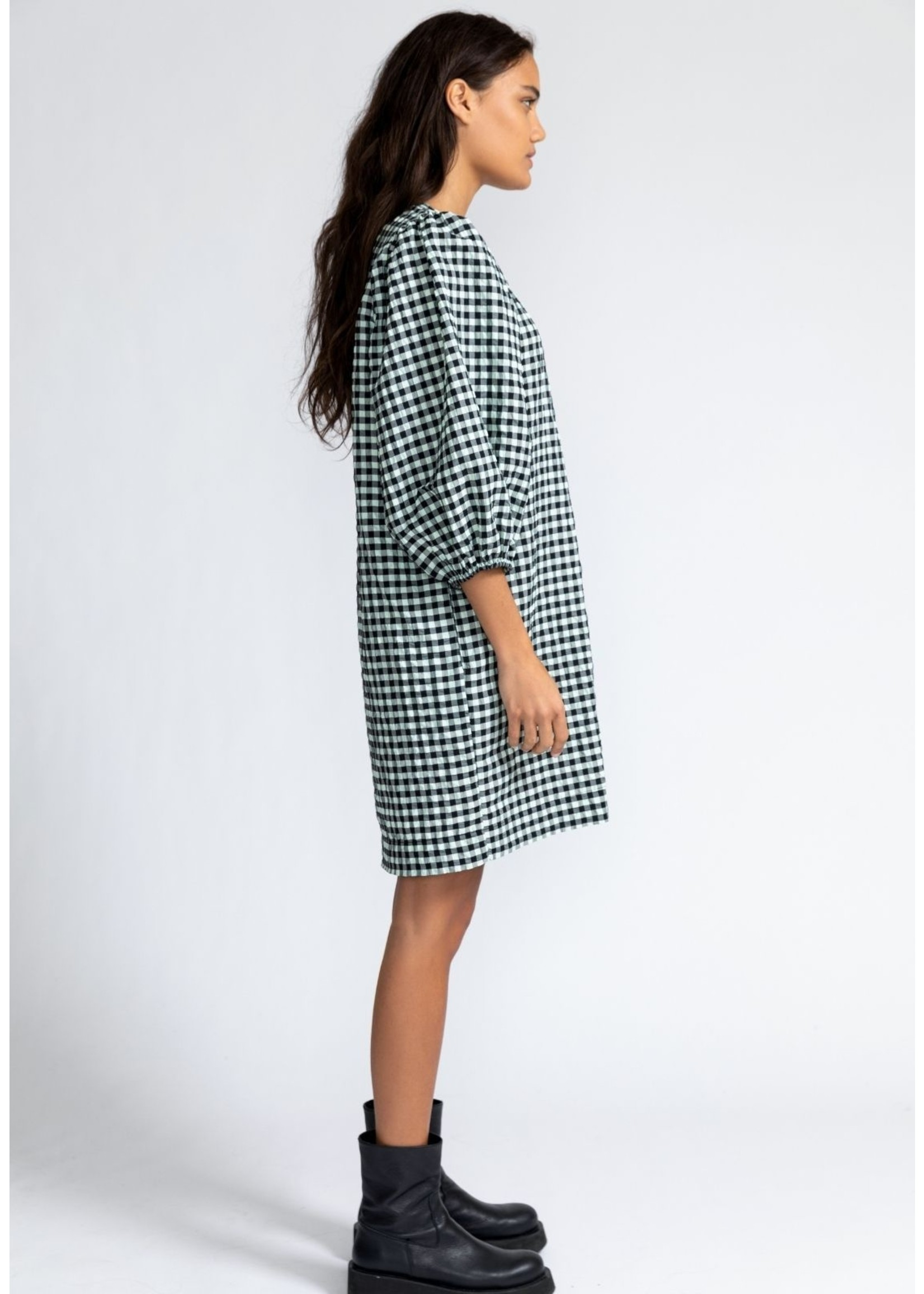 CHECK DRESS WITH REMOVABLE BELT