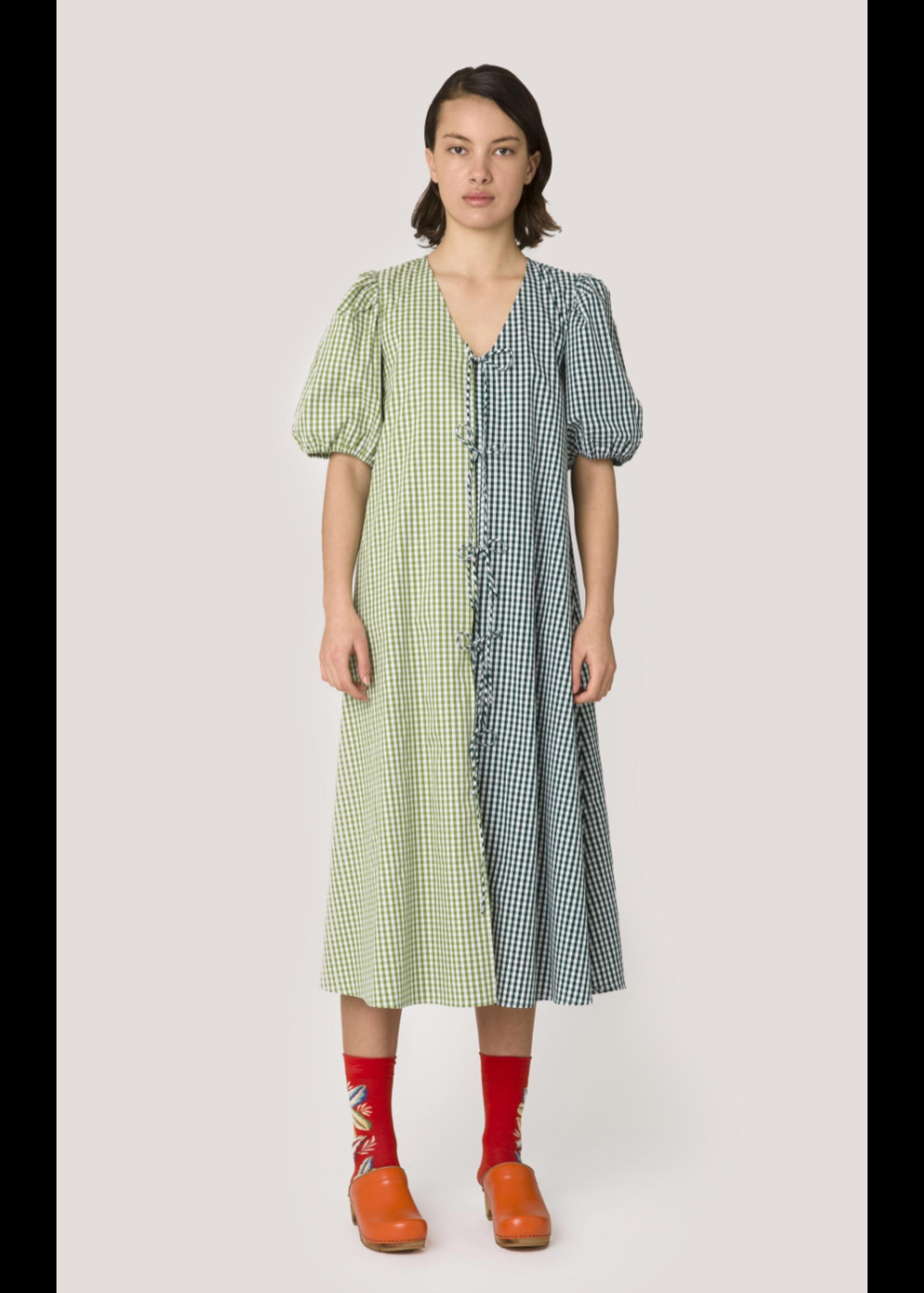 COLORBLOCK CHECK DRESS