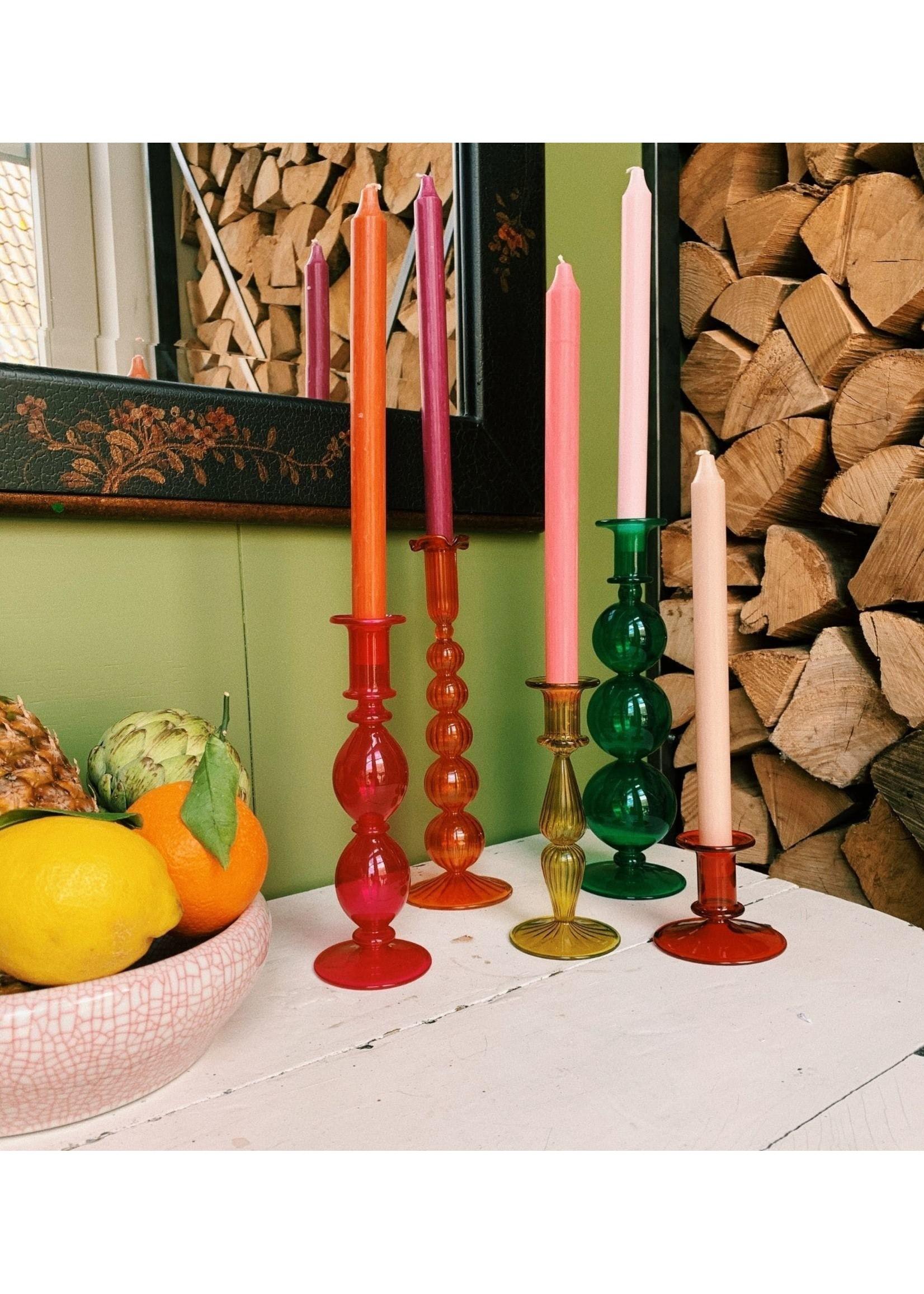 Southern Sun Orange Glass Candle Holder