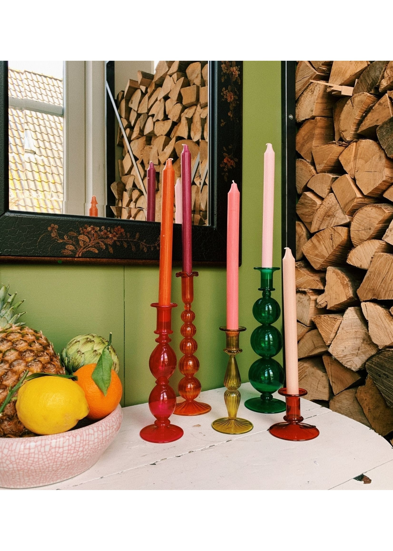 Rodeo Red Glass Candle Holder