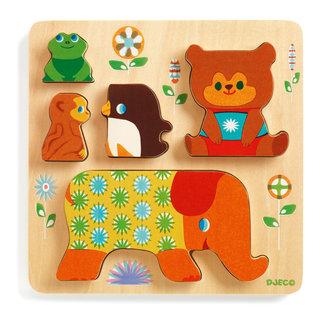Djeco Houten Puzzel - Relief puzzel, dierentuindieren (Woodypile)