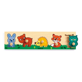 Djeco Puzzels, Houten puzzels - knoppuzzel Forest'n'co, 5 stukjes