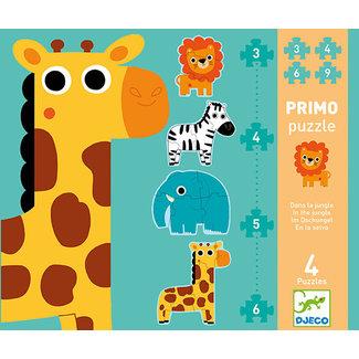 Djeco Puzzels, Legpuzzels - eerste puzzels in de jungle, 3-4-6-9 stukjes (primo puzzle in the jungle)