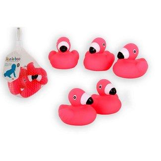 Jono Toys 5 flamingo badfiguren in net