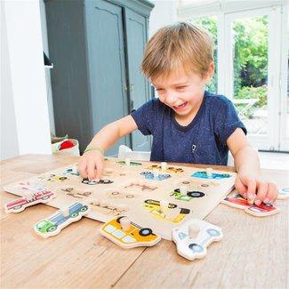Puzzels, Houten puzzels - knoppuzzel voertuigen, 18 stukjes