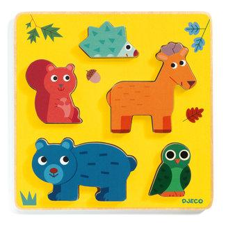 Djeco Houten puzzel - Relief puzzel, bosdieren (Frimours)