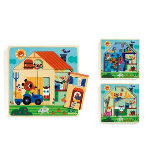 Djeco 3 lagen houten puzzel Chez Gaby