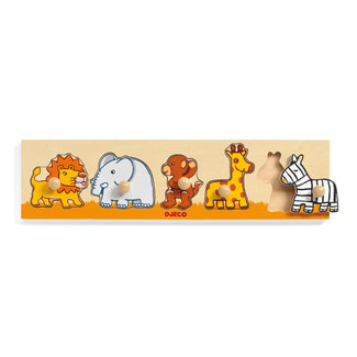 Djeco Puzzels, Houten puzzels - knoppuzzel Sava'n'co, 5 stukjes