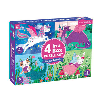Mudpuppy Puzzels, Legpuzzels - 4-in-1 puzzel magische vriendjes, 4-6-9-12 stukjes (Magical Friends)