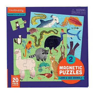 Mudpuppy Puzzels, Legpuzzels - magneetpuzzel land- en zeedieren, 20 stukjes (Land & Sea Animals)
